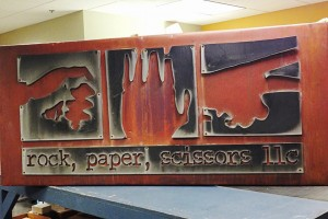Rock Paper Scissors copper sign