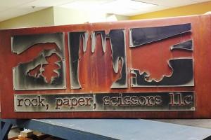 Rock Paper Scissors copper sign