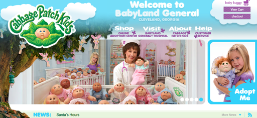 Screen shot of the home page for CabbagePatchKids.com